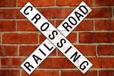 Railroad Crossing Crossbuck Brick Wall Traffic