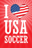 I Love USA Soccer (World Cup  Red) Sports