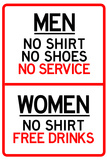 Women Free Drinks Men No Service Parking
