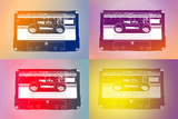 Audio Cassette Tapes Flash Pop Art Print Poster