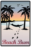 Beach Bum Hammock Between Palm Trees Art Print Poster