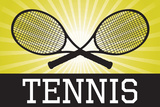 Tennis Crossed Rackets Yellow Sports Poster Print