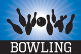 Bowling Blue Sports Poster Print