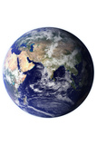 Planet Earth Eastern Hemisphere on White Art Print Poster