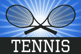 Tennis Crossed Rackets Blue Sports Poster Print