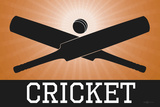 Cricket Orange Sports Poster Print