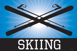 Skiing Blue Sports Poster Print
