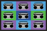 Boombox Stereos 3 Pop Art Print Poster