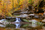 Autumn waterfall in McCormics Creek State Park  Indiana  USA