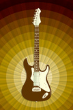 Electric Guitar Gold Music Poster Print