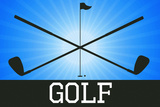 Golf Blue Sports Poster Print