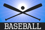 Baseball Blue Sports Poster Print