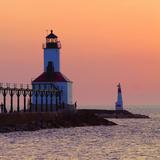 Indiana Dunes lighthouse at sunset  Indiana Dunes  Indiana  USA