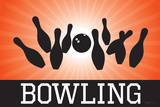 Bowling Orange Sports Poster Print