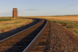 Railroad Tracks Lead to Old Wooden Granary in Collins  Montana  Usa