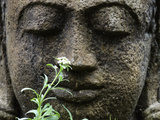 Stone Garden Statue with Flower