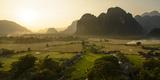 Laos  Vang Vieng Sunset View from Hot Air Balloon