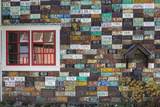 USA  Colorado  Crested Butte Old License Plates on Building Wall