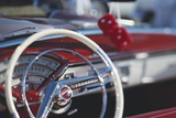 Close-Up of Steering Wheel in Classic Car