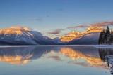 Sunset on Peaks Reflect Nto Lake Mcdonald in Glacier NP  Montana  Usa