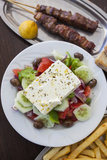 Greece  Peloponnese  Corinth  Greek Salad with Souvlaki and Fries