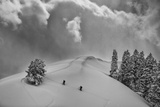 Backcountry Ski Climbers in Fresh Powder  Near Salt Lake City  Utah