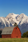 Red Barn Sits Below Mcdonald Peak in the Mission Valley  Montana  Usa