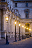 Row of Lamps in the Courtyard of Musee Du Louvre  Paris  France