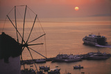 Greece  Mykonos  Sunset over Cruise Liner and Windmill