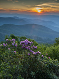 Sunset  Cowee Mountain Landscape  Blue Ridge Parkway  North Carolina