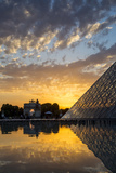 Sunset Refection of Glass Pyramid of Musee Du Louvre  Paris  France