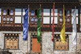 Flags Flutter Outside the Punakha Dzong Palace  Punakha  Bhutan