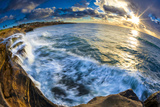 Sunset and Waves at Sunset Cliffs in San Diego  Ca