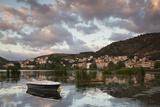 Greece  West Macedonia  Kastoria  Town by Lake Orestiada with Boats