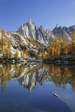 Prusik Peak and Larch Trees Reflected in Lake