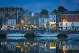 Twilight over Harbor Village of Padstow  Cornwall  England
