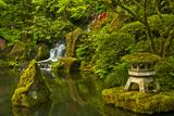 Heavenly Falls and Pagoda  Portland Japanese Garden  Oregon  Usa