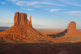 Mittens in Panoramic Landscape at Sunset  Monument Valley  Utah