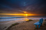 Sunset over the Pacific Ocean in Carlsbad, Ca Papier Photo par Andrew Shoemaker