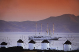 Greece  Cyclades Islands  Mykonos Windmill and Cruise Ship