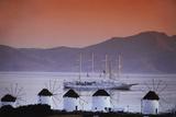 Greece  Cyclades Islands  Mykonos Windmill and Cruise Ship