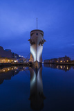 USA  Virginia  Norfolk  Ww2-Era Battleship Uss Wisconsin  Dusk