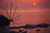 Greece  Cyclades Islands  Mykonos Boni Windmill and Mykonos Harbor