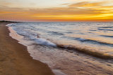 USA  Michigan  Paradise  Whitefish Bay Beach with Waves at Sunrise