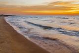 USA  Michigan  Paradise  Whitefish Bay Beach with Waves at Sunrise