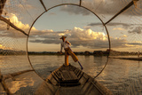 Intha Fisherman at Work Using the Legs for Rowing Inle Lake Myanmar