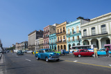 Classic Cars and Taxis on Street in Downtown  Havana  Cuba