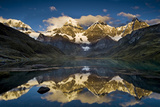 Mount Yerupaja Reflects in Lake Huayhuish  Andes Mountains  Peru