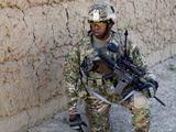 US Army Soldier Provides Security While on Patrol in Afghanistan