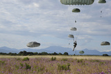 US Army Paratroopers Descend to a Drop Zone in France